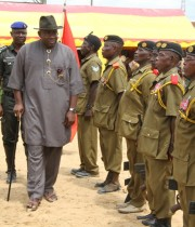 Bayelsa State Governor, Hon. Seriake Dickson (2ndleft) inspecting a guard of honour mounted by a detachment of the Nigerian Legion, Kolokuma / Opokuma Local Government Area chapter during the 2013 Late  Major Isaac Adaka Boro Day celebrations in Kaiama. Photo  by Lucky Francis.