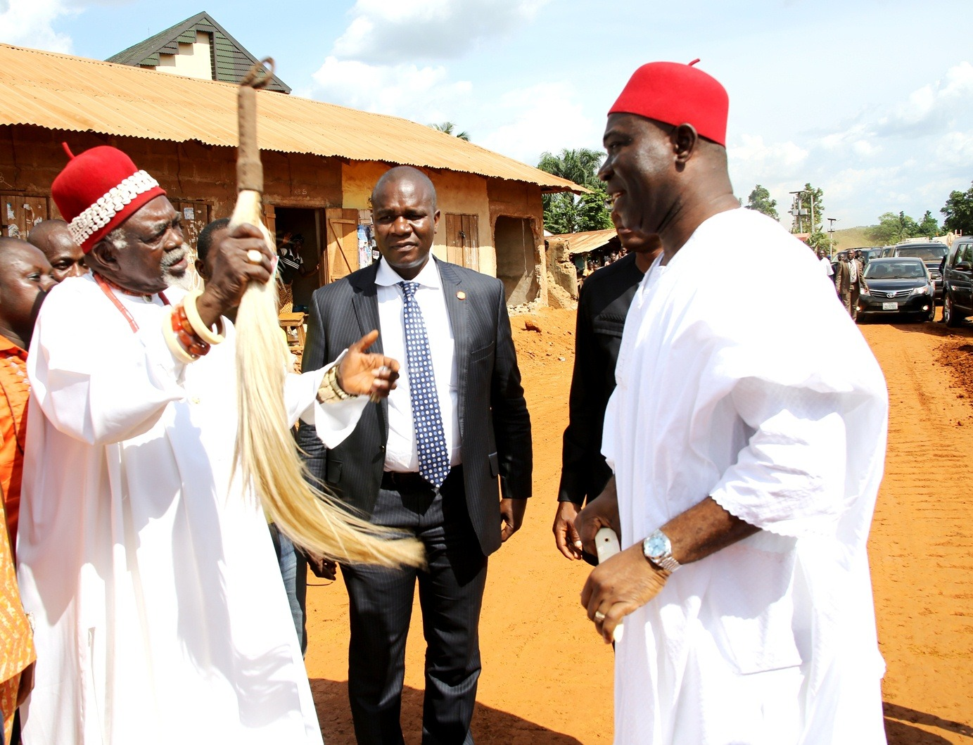 The Deputy President of the Senate, Chief Ike Ekweremadu being welcomed to Oduma by the Chairman, Traditional Rulers Council, Aninri LGA, HRM, Igwe Godwin Nwanjoku the reception and conferment of chieftaincy title of Dike Eji Ejemba on the Deputy President of the Senate by Oduma Community, Aninri Local Government Area, Enugu State at the weekend. PHOTO: OFFICE OF THE DSP