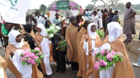Members of the Islamic Movement In Nigeria during a Peaceful Demonstration To Marks The Birthday of Daughter of Prophet Muhammad SAWA in Zaria over the weekend