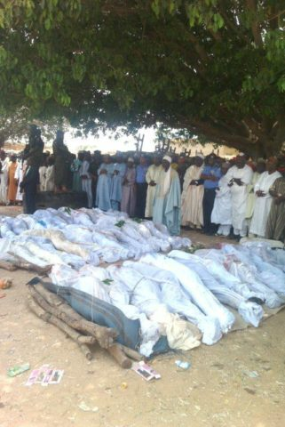 dead bodies assembled for funeral at Anguwar Galadima