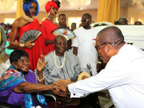 Gov. Theodore Orji of Abia state condoling with the family of Late Jusatice Chukwudifu Oputa during the funeral service at The Sacred Heart Catholic church Oguta in Imo state.