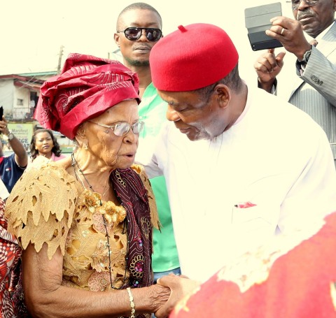Gov. Theodore Orji of Abia state with Chief Mrs. Adanma Okpara wife of Late Micheal Okpara during the commissioning of renovated ultra modern Okpara square in Umuahia.
