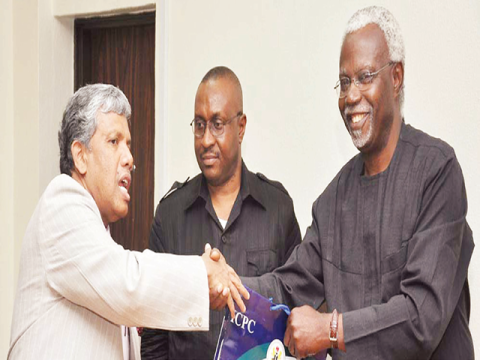 The ICPC Chairman, Mr Ekpo Nta, hosting the Indian High Commissioner to Nigeria, Mr A. R. Ghanashyam, in Abuja recently
