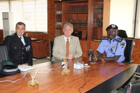 IGP SULEIMAN ABBA WITH HIS EXCELLENCY, MR ANDREW POCOCK BRITISH HIGH COMMISSIONER TO NIG DURING A COURTESY VISIT TO THE IGP