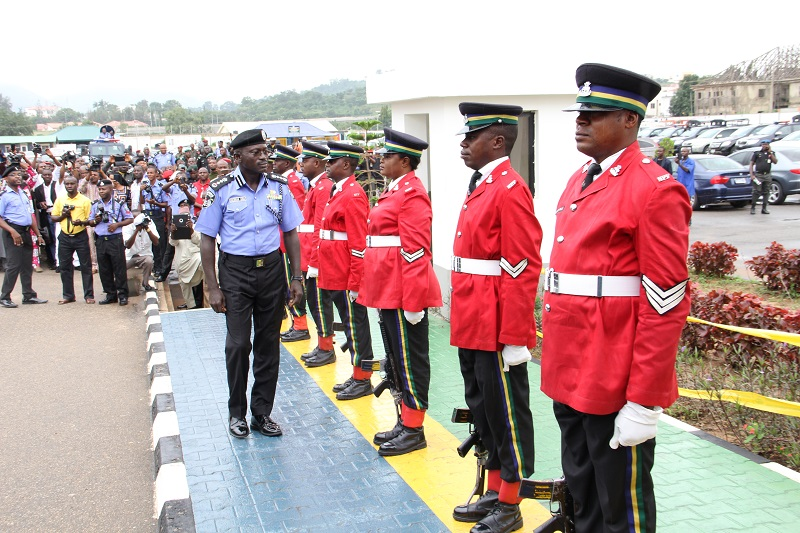 IGP Suleiman Abba Inspecting the Sentry Guard at the Force HQ