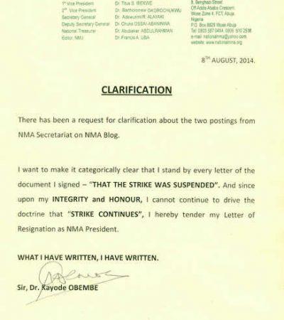 Nigerian Medical Association President Resigns Over Stike