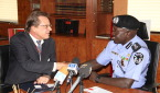 Ag. IGP SULEIMAN ABBA WITH HIS EXECELLENCY, MR FRANCIS JOHN BRAY DURING A COURTESY VISIT TO THE IGP