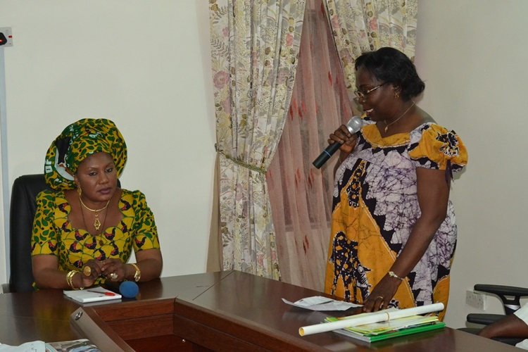 Wife of the Governor of Anambra State, Chief (Mrs) Ebelechukwu Obiano and Director of NYSC Mrs Inyang Bassey Ekpe during the courtesy visit at Government House Awka