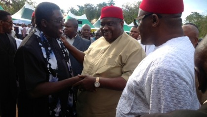 His Excellency, Deputy Governor of Imo State, Prince Eze Madumere (MFR) in a warm exchange with Chief Emmanuel Iwuanyanwu (Aha Eji Aga Mba) at Eziama, Ikeduru Local Government of Imo State during the New Yam Festival of Ikeduru people.