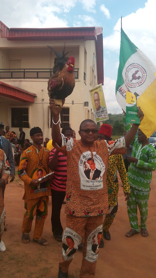 Chief Maja Umeh shortly after purchasing APGA nomination form and expressing of Interest form at the party Headquarters, Awka