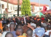 Abia state Governor, Theodore Orji addressing a mammoth crowd in Umuahia during a one million man match by Ukwa/ Ngwa people for Dr.Okezie Ikpeazu governorship race come 2015