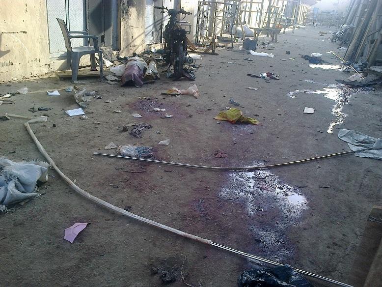 THE SCENE OF THE SUICIDE BOMB BLAST