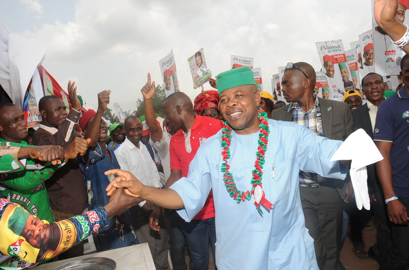 Imo State PDP Govrenorship Candidate and Deputy Speaker, House of Reps Hon. Emeka Ihedioha acknowledging cheers from his teaming supporters  during the Governorship Campaign Rally at St Mary's Catholic Church Ubomiri , Imo State last weekend 24/01/15