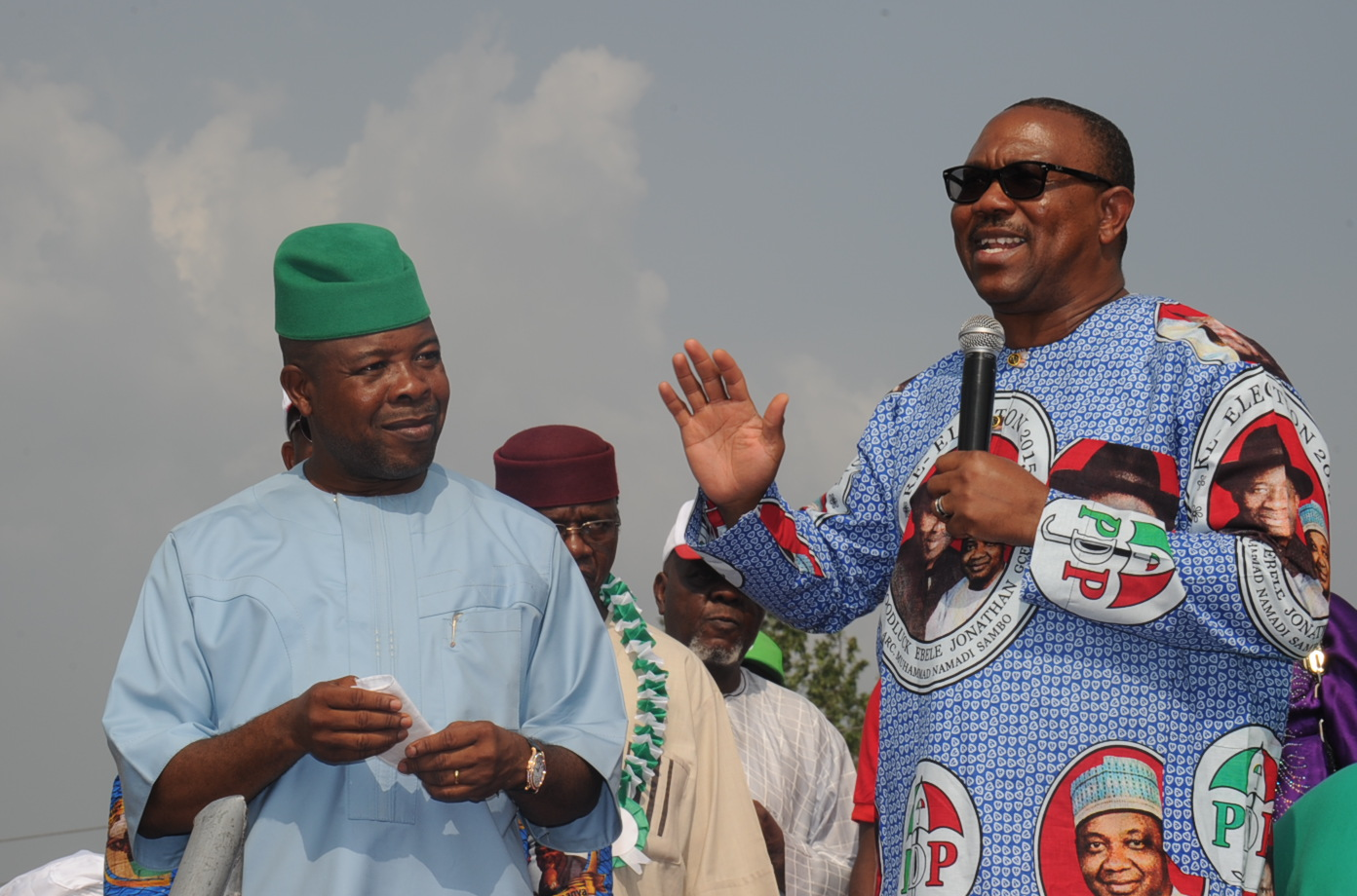 Former Governor of Anambra State, Dr. Peter Obi (right)  identifying with Rt Hon Emeka Ihedioha during the laters  Governorship Campaign Rally at St Mary's Catholic Church Ubomiri , Imo State last weekend 24/01/14