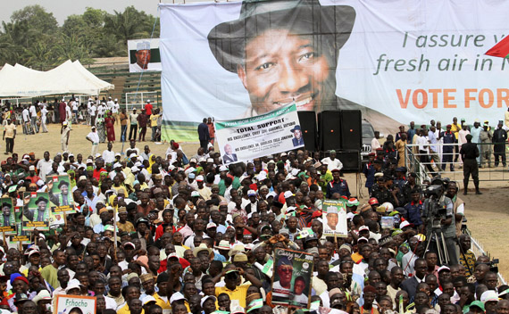 A poster showing the picture of Nigerian president Jonathan is seen at the launch of his campaign in the central city of Lafia