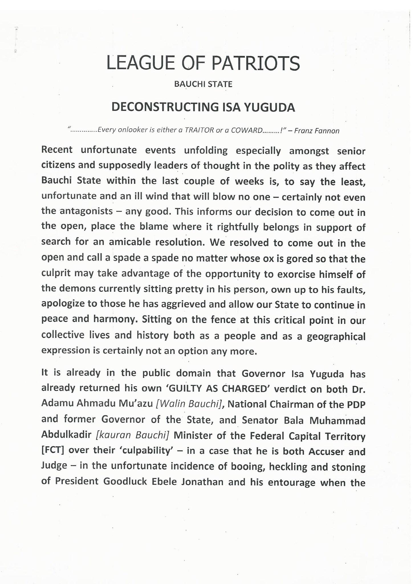 Deconstructing Isa Yuguda – League Of Patriots Bauchi State