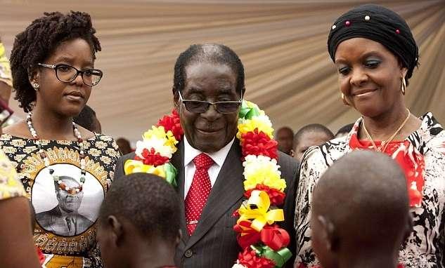 Bona Mugabe (left), Robert Mugabe and Wife Grace Mugabe