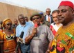 (L-R) Shaheel El-Ahel, MD IDC Construction ltd, Chief Willie Obiano, Governor of Anambra State, Chief Law Chinwuba, Commissioner for Work and Emeka James Okoye, SSA Special Projects during the tour of the flyovers under construction in Awka...at the weekend