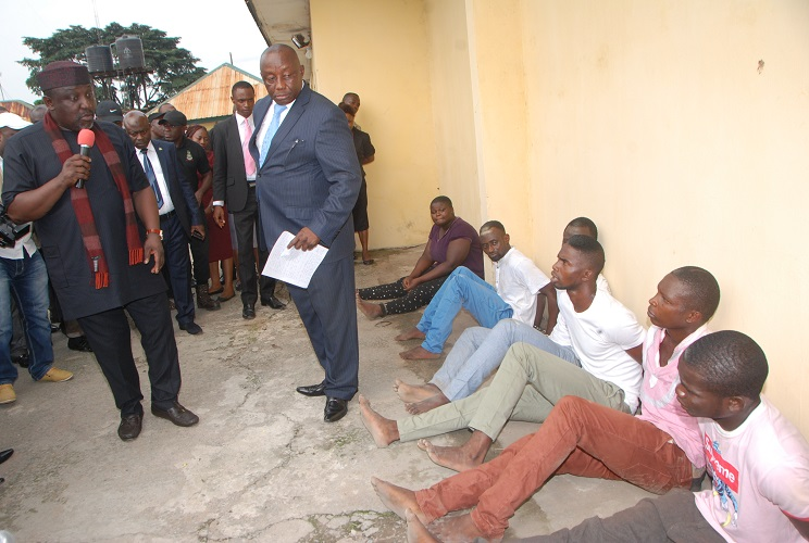 Gov okorocha speaks as the DSS parades five-man kidnapping gang at DSS office, Owerri on Monday