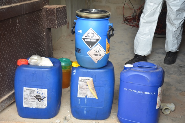 drums of chemicals discovered at the lab