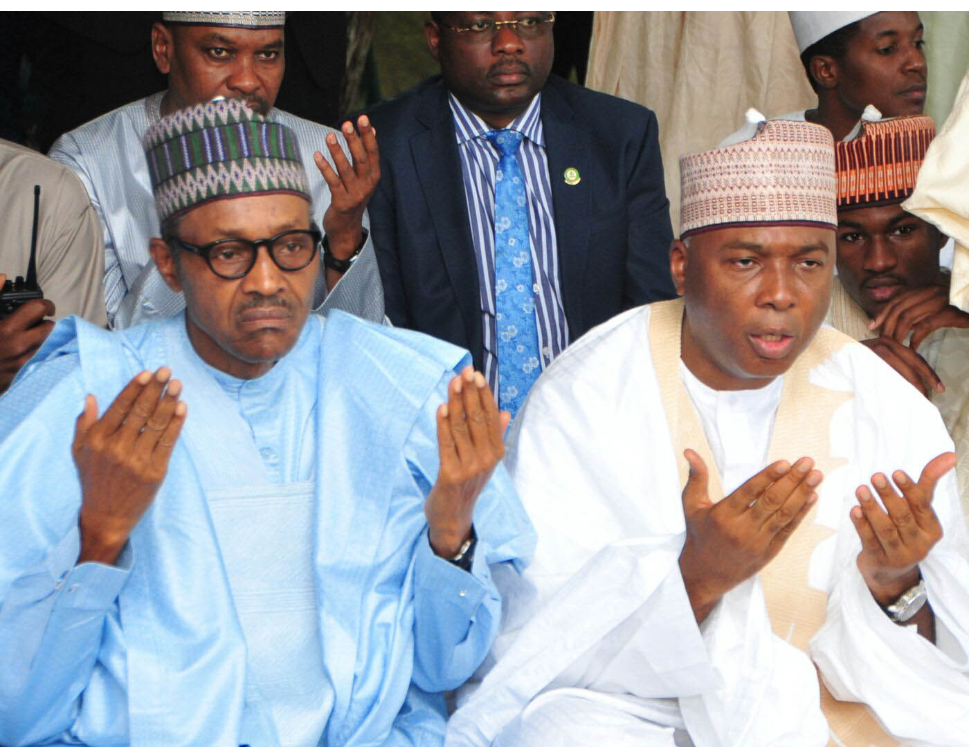 L-R, President  Muhammadu Buhari and the Senate President, Dr. Abubakar Bukola Saraki, during the   Eid-el Fitri celebration  at the National Prayer Ground  along Airport  Road, Abuja yesterday.