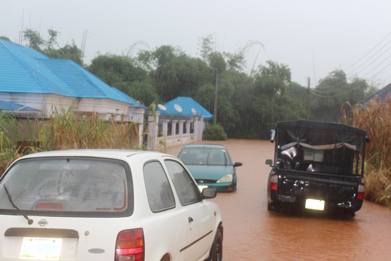 View of the flooded bungalow owned by Rtd AIG Ikemefuna Okoye at Road 16, Phase1, Ngozika Estate, Awka