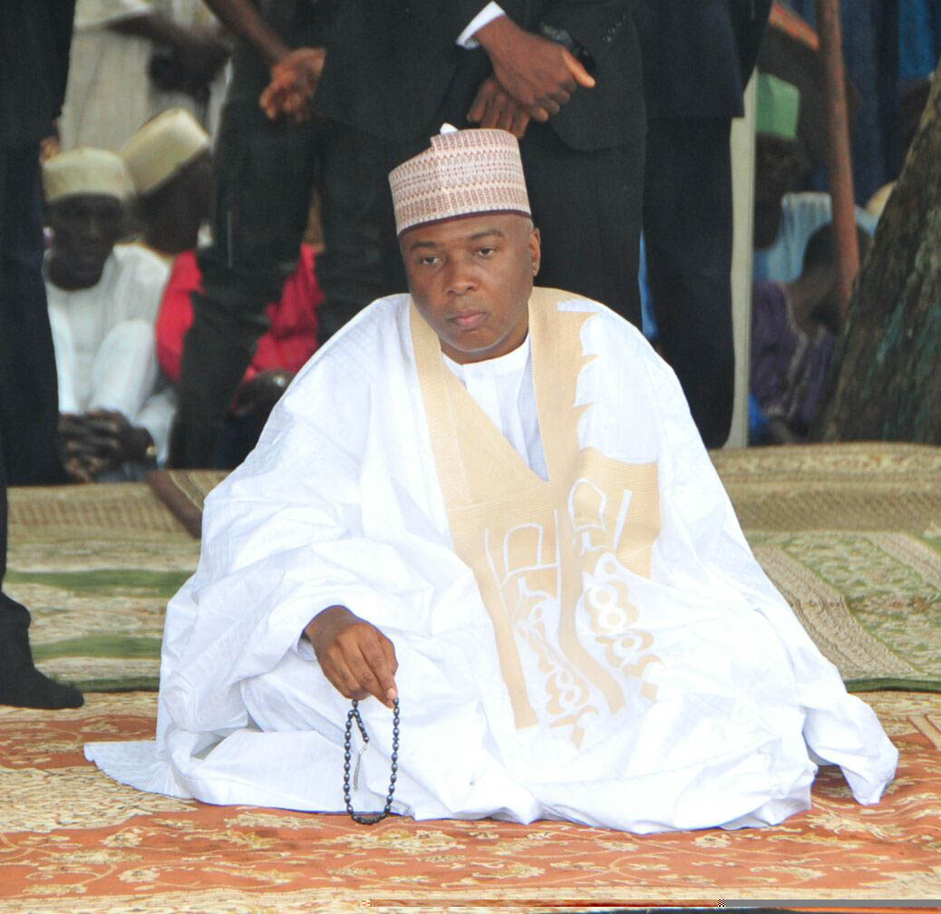 The Senate President, Dr. Abubakar Bukola Saraki praying at the National Prayer Ground to mark the end of Ramadan fast in Abuja yesterday.