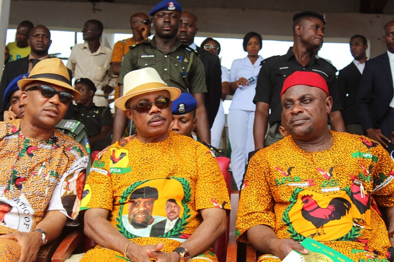 Governor of Anambra State, Chief Willie Obiano, National Chairman of APGA, Chief Victor Oye and former National Chairman of APGA, Chief Sir Victor Umeh at the Inauguration of new EXCO of APGA Anambra State held at Alex Ekwueme Square, Awka.