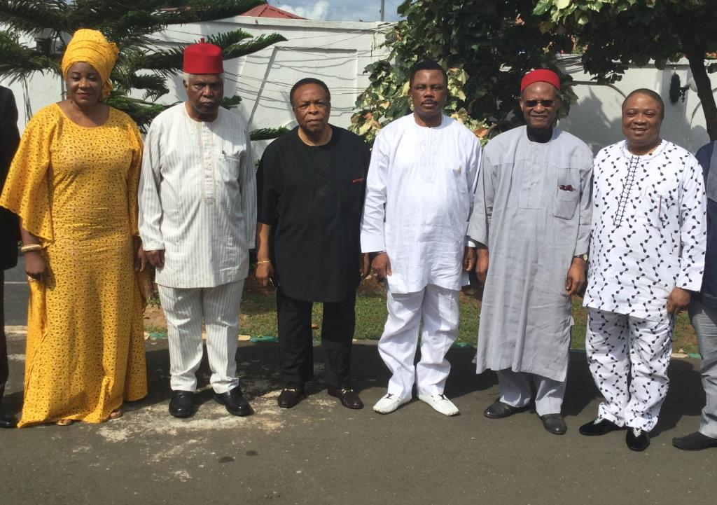 (L-R) Mrs Ngozi Okoye, SSA Oil & Gas, Dr. Alex Ekwueme, former Vice President, Dr. Emmanuel Egboga, former Presidential Adviser on Petroleum, Chief Willie Obiano, Governor of Anambra State, Chief Emeka Anyaoku, former Commonwealth Secretary General and Chief Cletus Ibeto, Industrialist during a courtesy call by the Board of Orient Petroleum on the governor at the Governor's Lodge, Amawbia...at the weekend