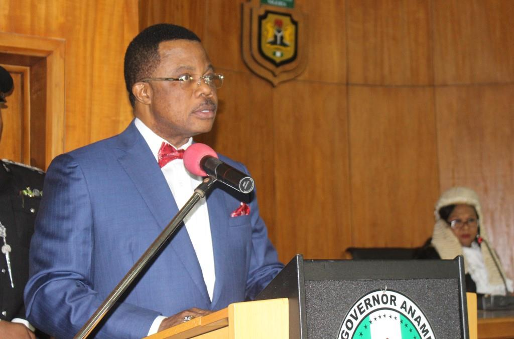 Governor Obiano, reading his 2016 Budget to the memebrs of Anambra State House of Assembly in Awka...Thursday