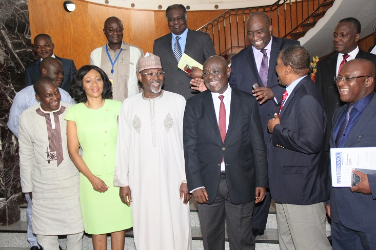 The Speaker of Ghana's Parliament, Rt. Hon. Edward Doe Adjaho (third right); former INEC Chairman, Professor Attahiru Jega; Chairman, Governing Board of IEA Ghana, Dr. Charles Mensa (second right), with presiding officers of the parliament during a visit by Professor Jega in Accra, Ghana…on Tuesday, 15/12/15