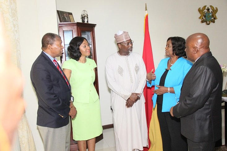Chief Justice of Ghana, Lady Justice Georgina Theodora Wood (second right); former INEC Chairman, Professor Attahiru Jega; Chairman, IEA Ghana Governing Board, Dr. Charles Mensa (left); Chief Executive Officer of IEA Ghana, Mrs. Jean Mensa, and a senior member of Ghana's judiciary during Professor Jega's visit in Accra…on Tuesday, 15/12/15
