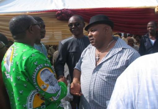 Ben Obi (Mbuze Agulu) and Peter Obi exchanging pleasantries
