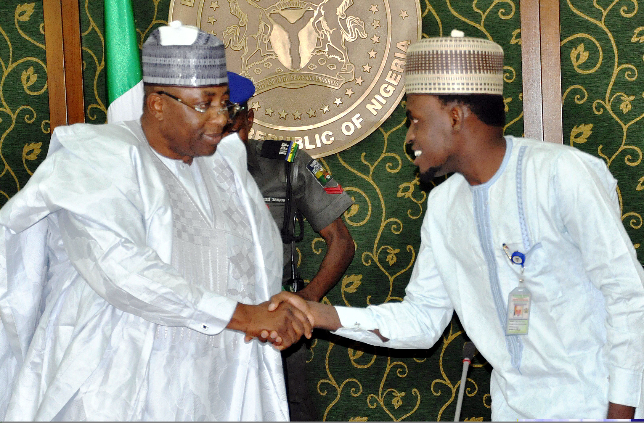 GOV. MUHAMMED ABUBAKAR RECEIVES EXECUTIVE MEMBERS OF BAUCHI STUDENTS PIC 11. GOV. MUHAMMED ABUBAKAR OF BAUCHI STATE (L) WELCOMING THE STATE CHAIRMAN, NATIONAL UNION OF BAUCHI STATE STUDENTS (NUBASS), COMRADE MOHAMMED GOTEL WHO LED NUBASS EXECUTIVES TO THE GOVERNMENT HOUSE IN BAUCHI ON THURSDAY (3/12/15). 7439/3/12/2015/DJ/ICE/NAN
