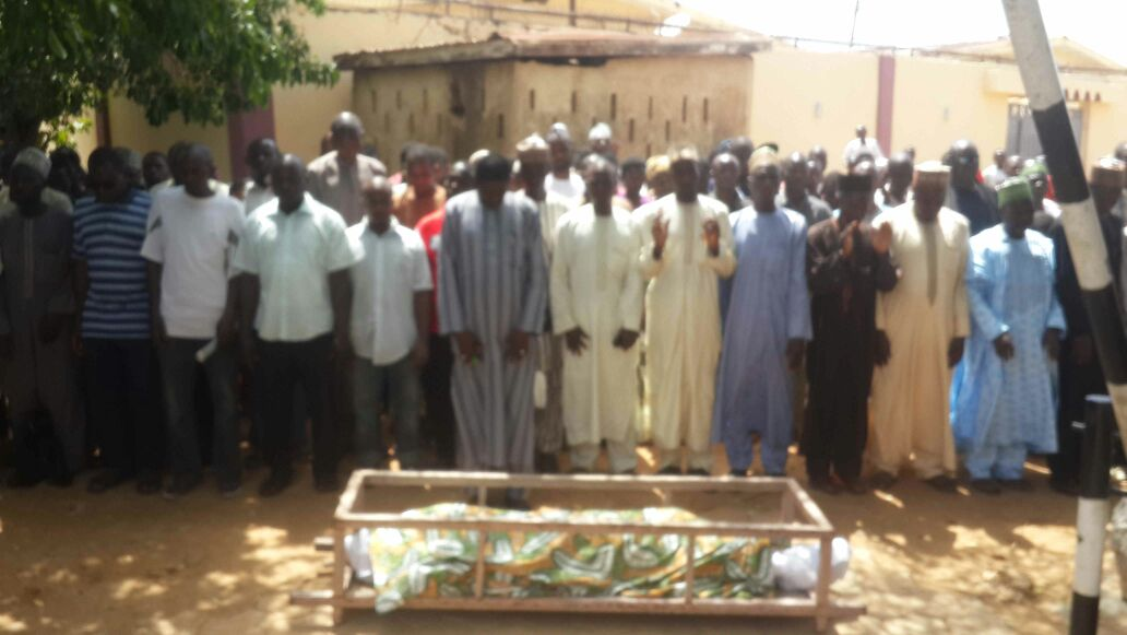 Picture of Funeral prayers said on late Idris Khalid, killed by Nigerian army in Zaria