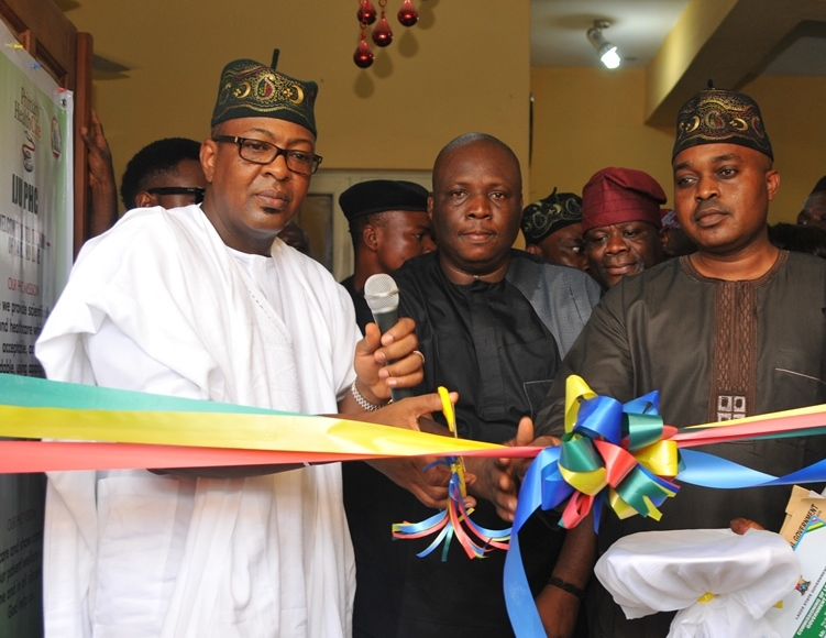 L-R: Representative of Lagos State Governor, Commissioner for Tourism, Arts & Culture, Mr. Folorunsho Folarin Coker; Executive Secretary, Ifako Ijaiye Local Government, Hon. Olurotimi Adeleye and Member, Lagos State House of Assembly, representing Ifako Ijaye Constituency 1, Hon. Saka Fafunm during the commissioning of Iju Public Health Centre, Lonlo, Iju, Lagos on Tuesday, May 17, 2016.