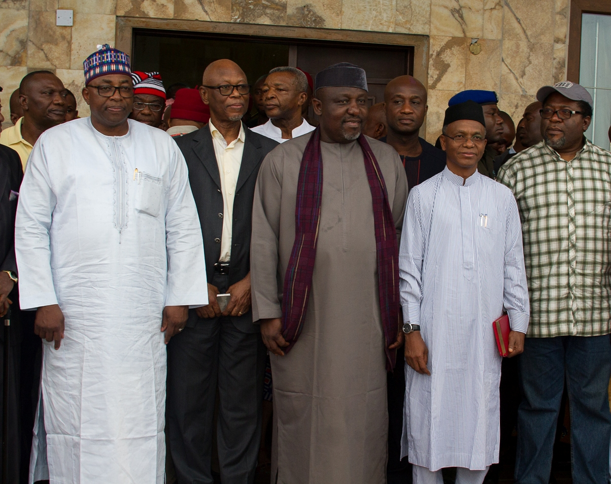 Governor Rochas Okorocha (Centre), in a group photograph    with Governor El Rufai (1st right), Chief John Oyegun, APC National    Chairman (1st left), Governor of Bauchi State, Alhaji Mohammed Abubakar