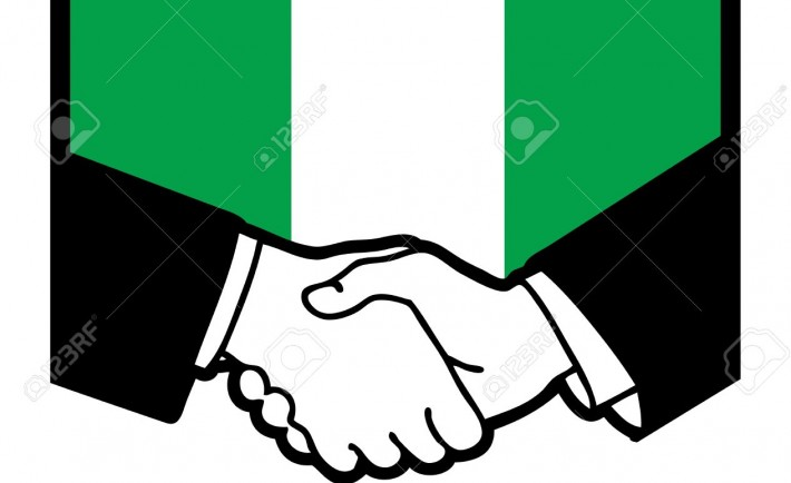 18784259-Nigeria-flag-and-business-handshake-Stock-Vector-710x434
