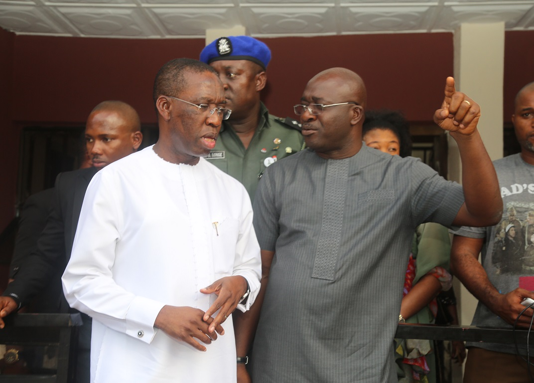 Senator Ifeanyi Okowa and Commissioner for Information, Mr. Patrick Ukah