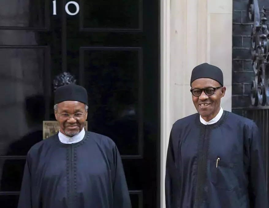 The then President-Elect Buhari trip to London ...with Mamman Daura