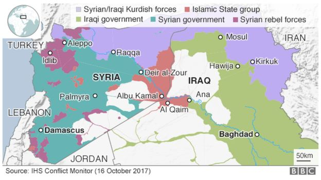 Map showing control of Iraq and Syria (16 October 2017)