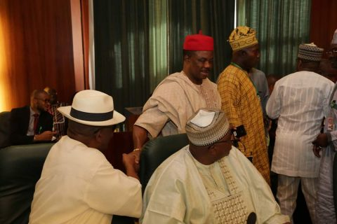 [Photos] Obiano Visits Aso Rock, Swarmed By Govs