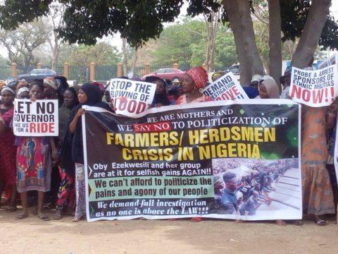 Herdsmen/Farmers Crisis: Protesters Storm Abuja, Calls For Immediate Probe Of Govs Ortom, Ishaku