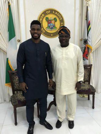 Gov. Ambode Meets Ex Super Eagles Captain Joseph Yobo, Endorses Players' Sports Academy