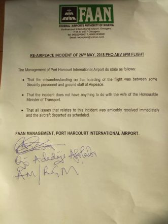 FAAN Dispels Assault Story Credited To Mrs Amaechi