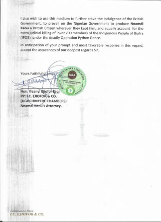 Nnamdi Kanu's Lawyer Writes UK Govt Concerning Kanu's UK Citizenship
