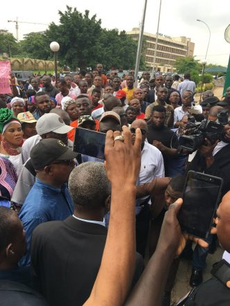 Assault On Fayose: Secondus Leads Protesters To NASS, INEC
