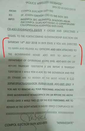 Secret Police Memo Ordering Removal Of Fayose Security Details Exposed