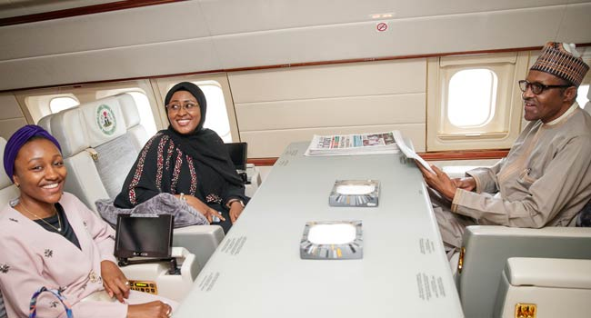 Buhari Takes Off To China With Aisha And Daughter