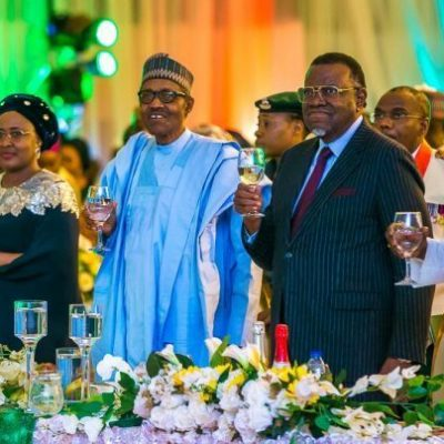 """Democracy Day: Buhari greets foreign leaders, dignitaries with """"Presidential Handshake''"""